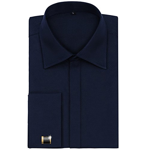 Alimens-Gentle-Mens-Dress-Shirts-French-Cuff-Long-Sleeve-Regular-Fit-Include-Metal-Cufflinks-And-Metal-Collar-Stays
