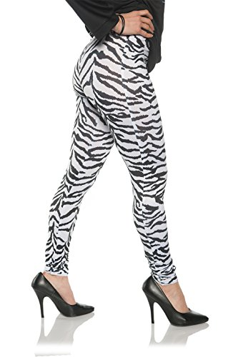Molly Ringwald Halloween Costumes (Women's Retro 80's Zebra Leggings - White Zebra, L/XL)