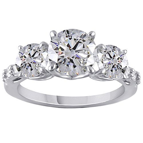 Jewel Zone US 2.32 Carat Round Brilliant Cut Moissanite Three Stone Ring in 14K White Gold Over Sterling Silver ()