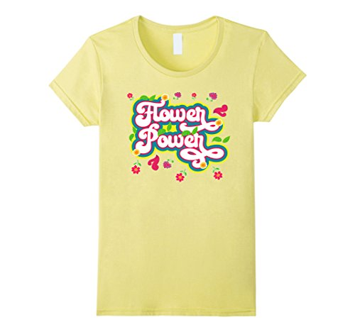 1970's Womens Hippie Shirt (Womens Flower Power Novelty Tshirt for 60s 70s Hippie Medium Lemon)