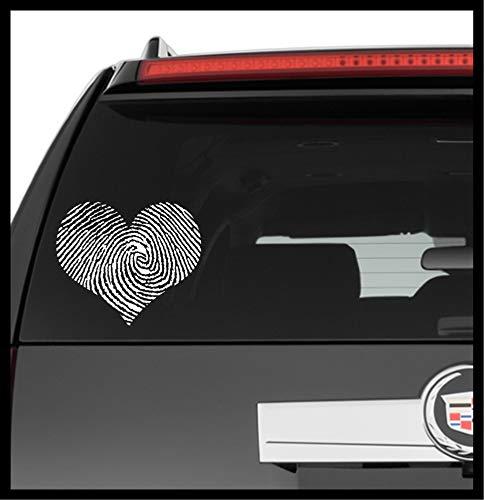 A Design World Decals for Cars Fingerprint Heart - Vinyl Decal Truck Car Laptop Wall Sticker
