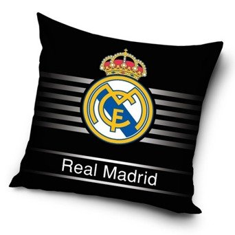 (FC Barcelona, Real Madrid Pillow Cover Case 40 x 40 cm, Spongebob, Blaze, Gumball, Superman, Spiderman & Others (Real Madrid - Black))