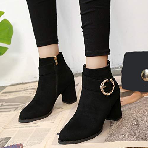 Zipper Bola Black Boots Botines 6 Pelo Gamuza Redonda Color Mujer De Botas Con Ante Cuña Zapatos Punta Zapatillas Cabeza Para Bazhahei Pure YFRgSx