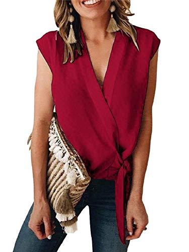 Niitawm Womens Wrap Tank Tops Sleeveless Tie Knot Front Deep V Neck Summer Chiffon T-Shirt High Low Blouses