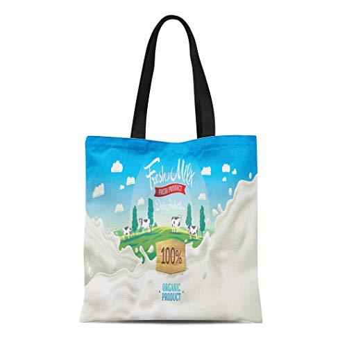 Semtomn Canvas Tote Bag Shoulder Bags White Farm Scenery Landscape and Splashes From Milk the Women's Handle Shoulder Tote Shopper Handbag