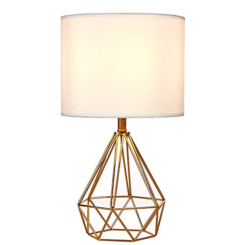 (SOTTAE Modern Style Golden Hollowed Out Base Living room Bedroom Beside Table Lamp, Desk Lamp With White Fabric Shade)