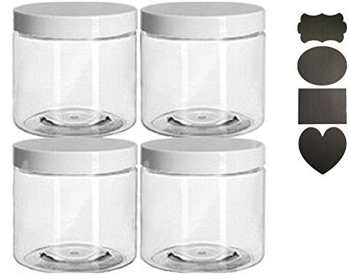 16 oz Plastic Jar Clear with caps 4 per pack