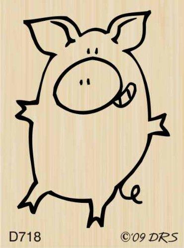 Leonard Pig's Dance of Joy Rubber Stamp By DRS Designs