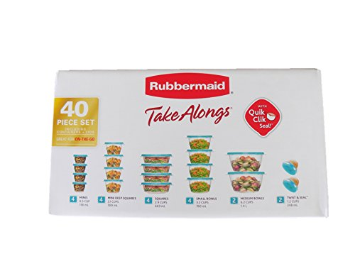 Rubbermaid TakeAlongs Food Storage Container, Aquamarine/Teal 40-Piece Set