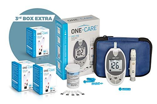 ONE-CARE Glucose Meter Kit – ONE-CARE Blood Sugar Meter, 110 Blood Test Strips, Plus 50 Free Test Strips,1 Adjustable Depth Lancing Device, 30 Gauge Lancets -10 Ct, Compact Carrying Case