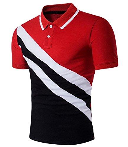 Contrast Stitch Short Sleeve T-shirt (Summer Men Stylish Casual Stitch Short-Sleeve Contrast Color Tee Shirt Red XL)