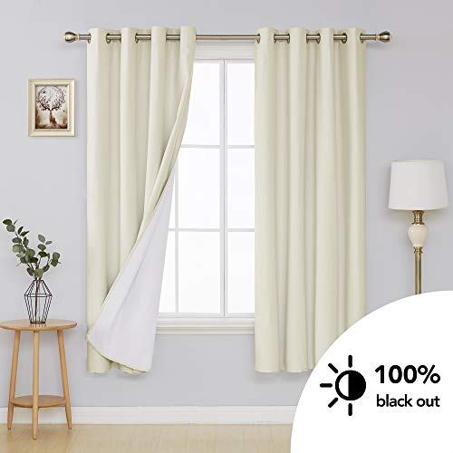 Deconovo Blackout Curtains Grommet Top Microfiber Thermal Insulated Room Darkening Energy Efficient Curtains for Bedroom with 3-Pass Coating Back Layer Light Beige 52 x 72 Inch