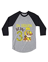 Tstars Paw Patrol Rubble Digging 3rd Birthday 3/4 Sleeve Baseball Jersey Toddler Shirt