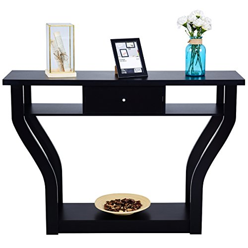 Giantex Console Hall Table for Entryway Small Space Sofa Side Table with Storage Drawer and Shelf Home Office Living Room Furniture Narrow Accent Hall Table, Black by Giantex