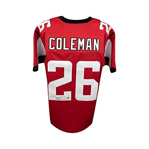 Tevin Coleman Autographed Atlanta Falcons Custom Football Jersey - Leaf COA