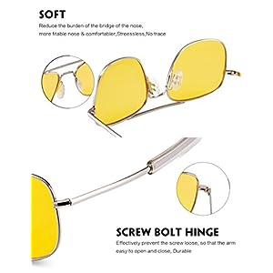 WELUK Night Vision Driving Glasses Polarized 55mm Aviator Sunglasses for Men Yellow Lens