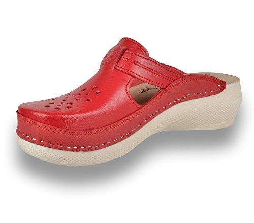 Mujer De Zapatos Leon Pu156 Rojo Zuecos Cuero Para Zapatillas SxwSUq40nH