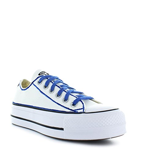 Converse Women's Shoes All Star Platform White/Blue Sneaker Ltd Ed Spring Summer 2018 zPusSz4
