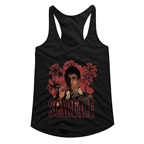 (Scarface Crime Film Thriller Movie Red Palms Black Ladies Racerback Tank Top Tee)