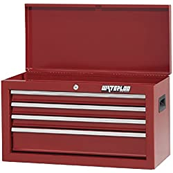 """Waterloo Shop Series 4-Drawer Tool Chest with Full-Extension Friction Drawer Slides, Red Finish, 26"""" W"""