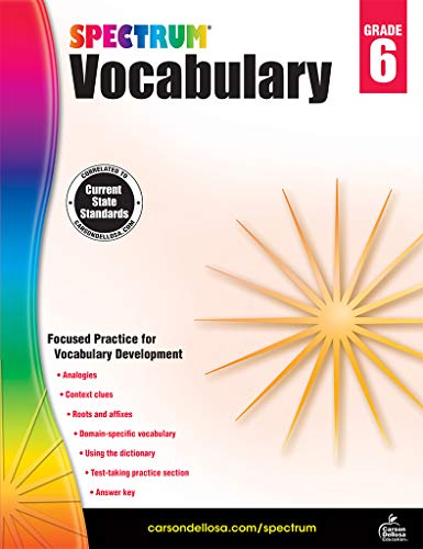 Spectrum Paperback Vocabulary Book, Grade 6, Ages 11 - 12