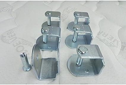Abitti Pack 6 Abrazaderas metálicas para somier de Tubo 40x30mm, Sistema antiruido de Gran Estabilidad y Resistencia.