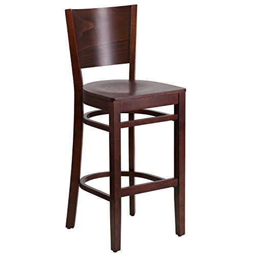 Flash Furniture Lacey Series Solid Back Walnut Wood Restaurant Barstool 0.625' Wall