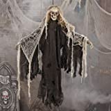 DELUXE CREEPY HANGING SKELETON DECORATION -IT MOVES AND WAILS SCARY SOUNDS