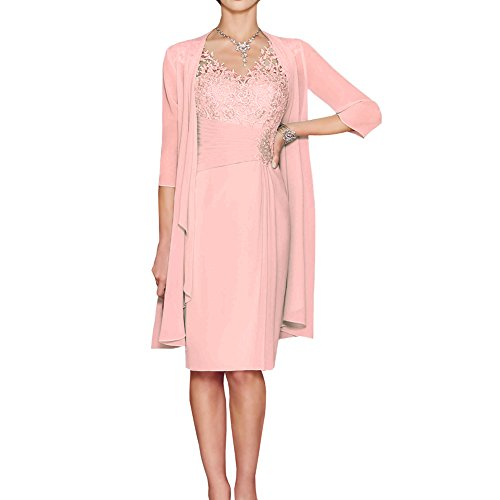 1be2ccf46 ShineGown Mother of The Bride Dresses Two Piece Knee-Length Sweetheart  Pleated Applique Chiffon Lace Long Jacket