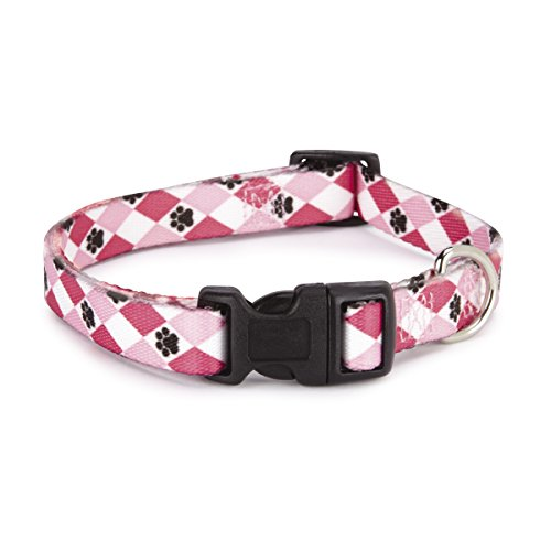 "Casual Canine Nylon Pooch Patterns Dog Collar, Fits Necks 6"" to 10"", Pink Argyle"