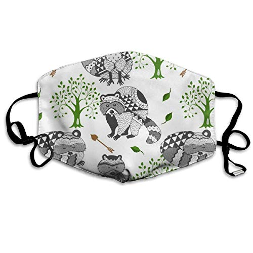 AAA.Yongfugui Raccoon Tree Arrow Tribal,Face Masks Breathable Dust Filter Masks Mouth Cover Masks Elastic Ear Loop Fashion Outdoor Face Masks with Design (Tree Tribal Triple)