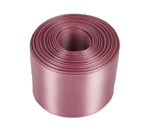 Satin Ribbon Mauve (5 Yards Rolled up 1-1/2 SINGLE FACE SATIN Ribbon 100% Polyester Choose Color (165 - ROSY MAUVE))