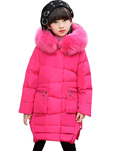 CUKKE Girl's Down Fur Hooded Jacket Winter Warm Outwear Winter Coat (130,Rose) by CUKKE
