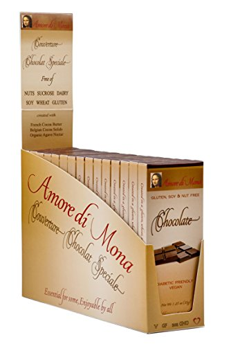 Case of 15 Amore di Mona Luxury Dark Chocolate Bars: Vegan, Organic, All Natural, Non-GMO. Free of Gluten, Peanuts, Tree Nuts, and All Other Common Allergens.