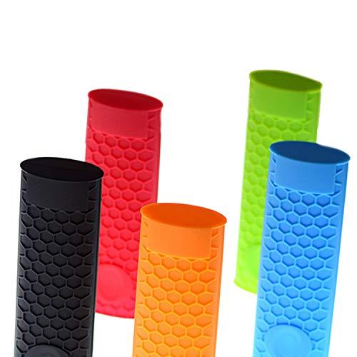YouU Silicone Hot Handle Holder Potholder Rubber Pot Handle Sleeve Heat Resistant for Cast Iron, Pans, Metal Frying Pans, Skillets, Griddles- Red, Orange, Green,Black, Blue (5 Pcs)
