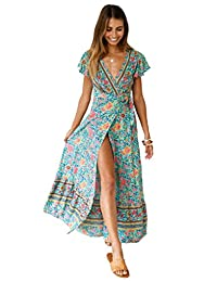 imidol Women's Short Sleeve V-Neck Front Split Floral Print Boho Long Maxi Dress Beach Dress