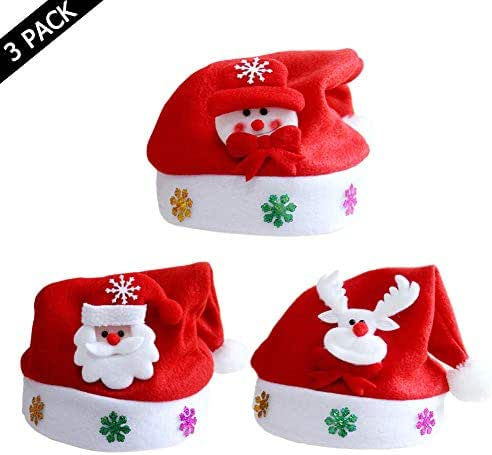Christmas Santa Hat for Children, Traditional Red and White Plush Velvet Party Hat with Liner,Christmas Decorations (3PCS)