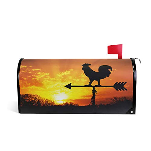 ZZKKO Rooster Weather Vane Magnetic Mailbox Cover Wrap Large Size 25.5 x 20.8 Inch