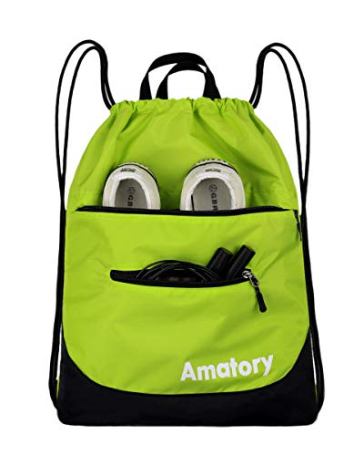 Drawstring Backpack String Bag Sackpack Sports Athletic Gym Sack Men Women Kids (Green)