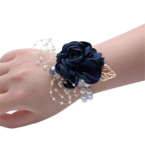 Flonding Girl Bridesmaid Wrist Corsage Bridal Silk Wrist Flower with Faux Pearl Bead Stretch Bracelet Wristband Gold Leaf for Wedding Prom Hand Flowers Decor (Dark Blue, Pack of 4)