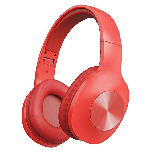 Bluetooth Headphones, Letscom Wireless Headphones Over Ear with Hi-Fi Sound Mic Deep Bass, 100 Hours Playtime and Soft Memory Protein Earpads for Travel Work TV PC Cellphone – Red