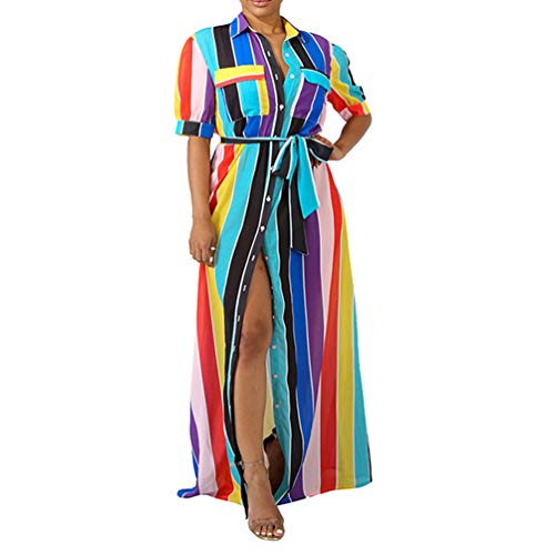 Womens Button Down Dress Casual - Half Sleeve Rainbow Striped Flowy Party Long Maxi Shirt Dresses with Belt Purple 3X-Large ()