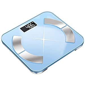USB Rechargeable Smart Digital Bathroom Weight Electronic Scale,Tempered GlassBacklit DisplayPrecision Measurements 330 Pounds (Color : Blue)