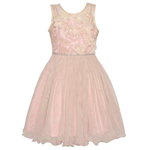 Bonnie Jean Big Girls Ivory Floral Appliques Rhinestone Trim Dress 10