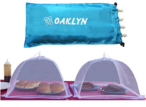 Pop Up Food Covers - (4pk) 16 inch Collapsible Mesh Food Cover Tent Umbrella Set with Storage Bag - Reusable Covers Protect from Flies and Bugs - Best Net Protector for Outdoor BBQ Party Picnic Wedding and Easily Fold Up