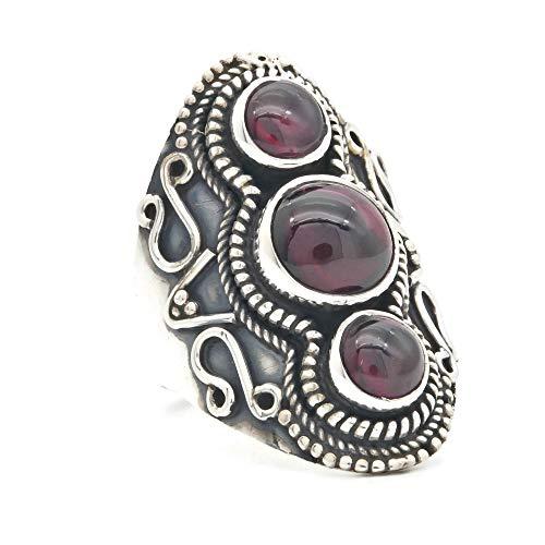 Ring Silber 925 Sterlingsilber Granat rot Stein (Nr: MRI 169)