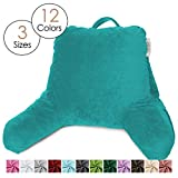 Nestl Reading Pillow, Medium Bed Rest Pillow with Arms for Kids Teens & Adults - Premium Shredded Memory Foam TV Pillow - Teal