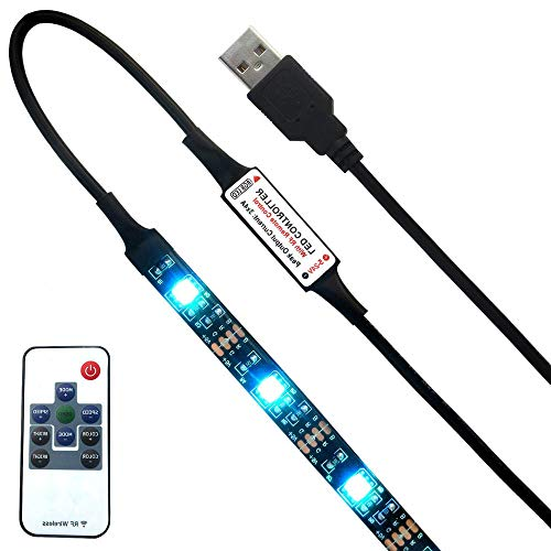 QiLi USB LED TV Backlight 5V Multi Color Changing Non-Waterproof Flexible USB LED Strip Light with RF Remote Controller (2M 10key RF remote control)