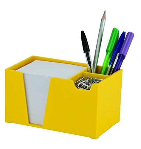 Acrimet Organizador de Escritorio para Lapiz/Papel/Clips (Color Amarillo) (Papel incluido)