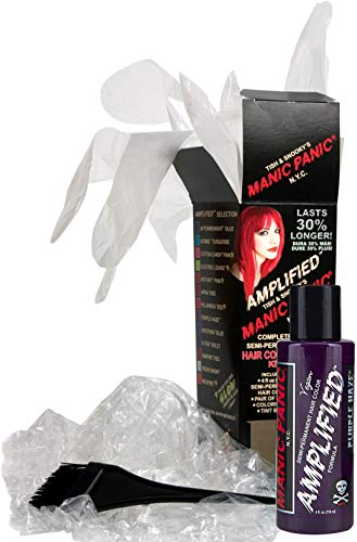 Manic Panic Purple Haze Amplified Hair Coloring Kit - Vegan Semi-Permanent Purple Hair Dye Cream - 3X Pigments & Lasts 30% Longer Than Classic Voltage (6-8 Weeks) - PPD & Ammonia-free